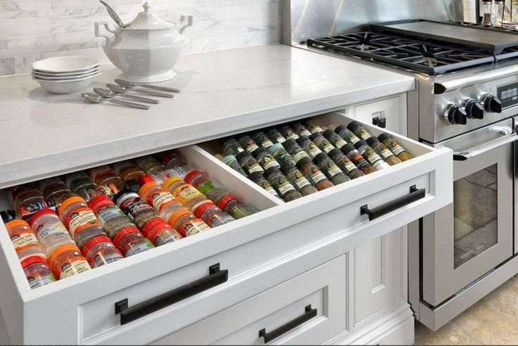 This custom spice drawer that makes mealtime a breeze.