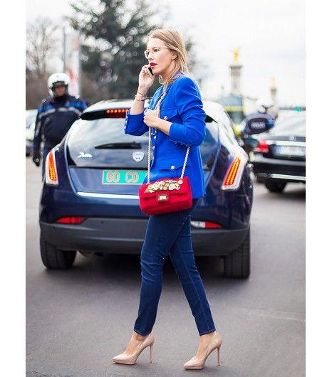 @Who What Wear - Bright Blazer + Embellished Bag                 Get The Look: Smythe Peaked Label Blazer ($595) in Fluro; Santi Beaded Minaudiere ($262)  Image via Style du Monde