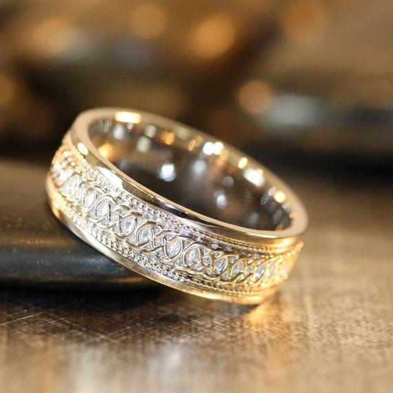 Infini noeud celtique 14k or blanc pour homme Unique mariage bague de mariage, bague d'anniversaire, anneau de promesse, 7mm Uni or l'éternité