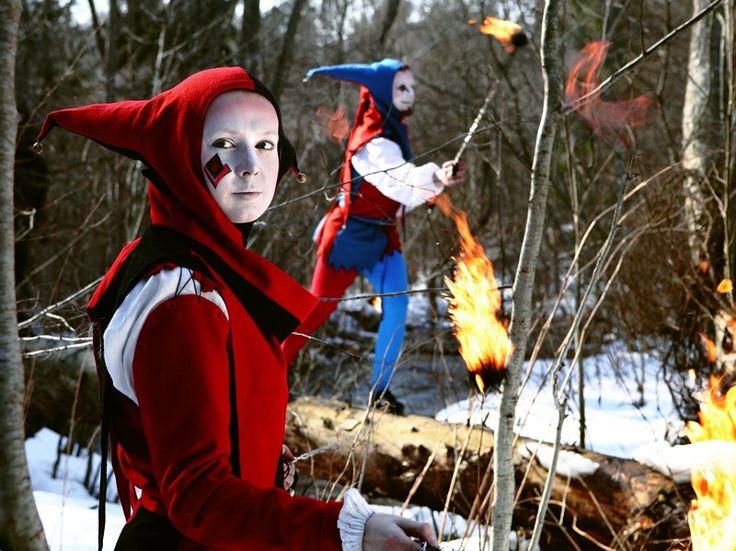 medieval theatre, carnival, stilt walker, jugglers on a festival