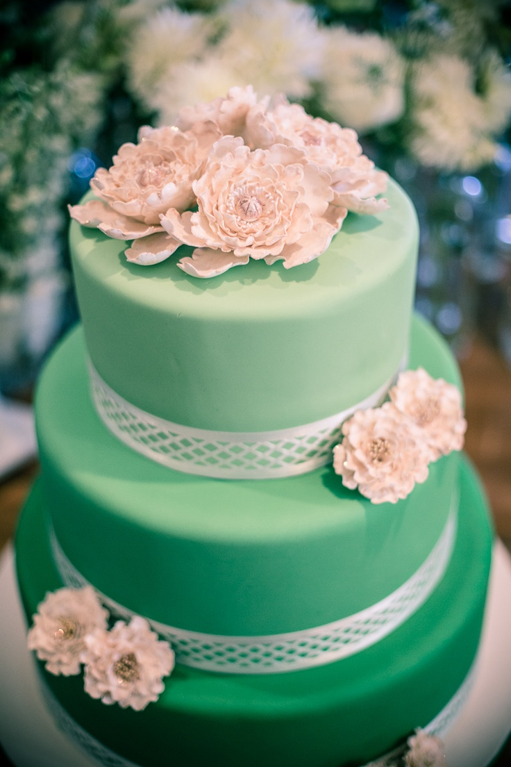 ombre green cake with ivory peonies  Lace Top