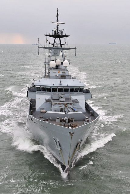 River Class Patrol Vessel HMS Mersey of the Fishery Protection Squadron is pictured at sea near Portsmouth.