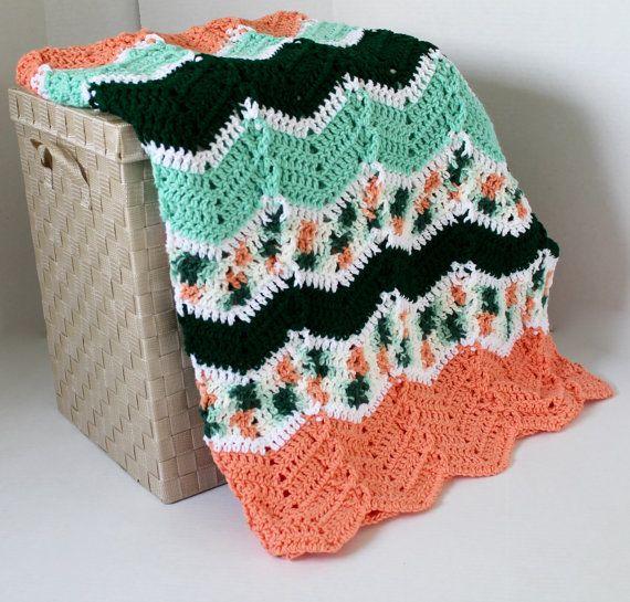 Afghan  Handmade Crochet Ripple Blanket  by SnuggableStitches