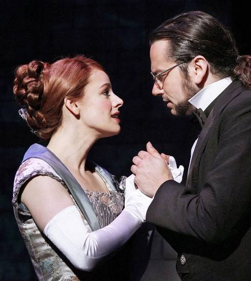 """Teal Wicks and Constantine Maroulis star as Emma Carew and Henry Jekyll in the national touring production of """"Jekyll & Hyde."""""""