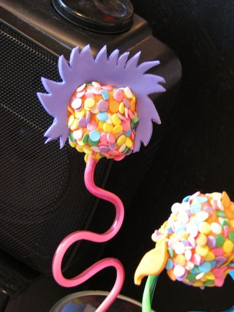 Cake pops on crazy straw... cute  presentation-reminds me of Dr Seuss trees