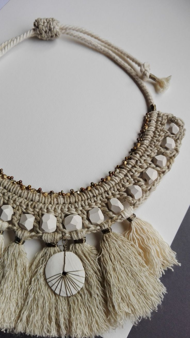 Linen and White Clay Statement Necklace. www.etsy.com/shop/ReArtFactory