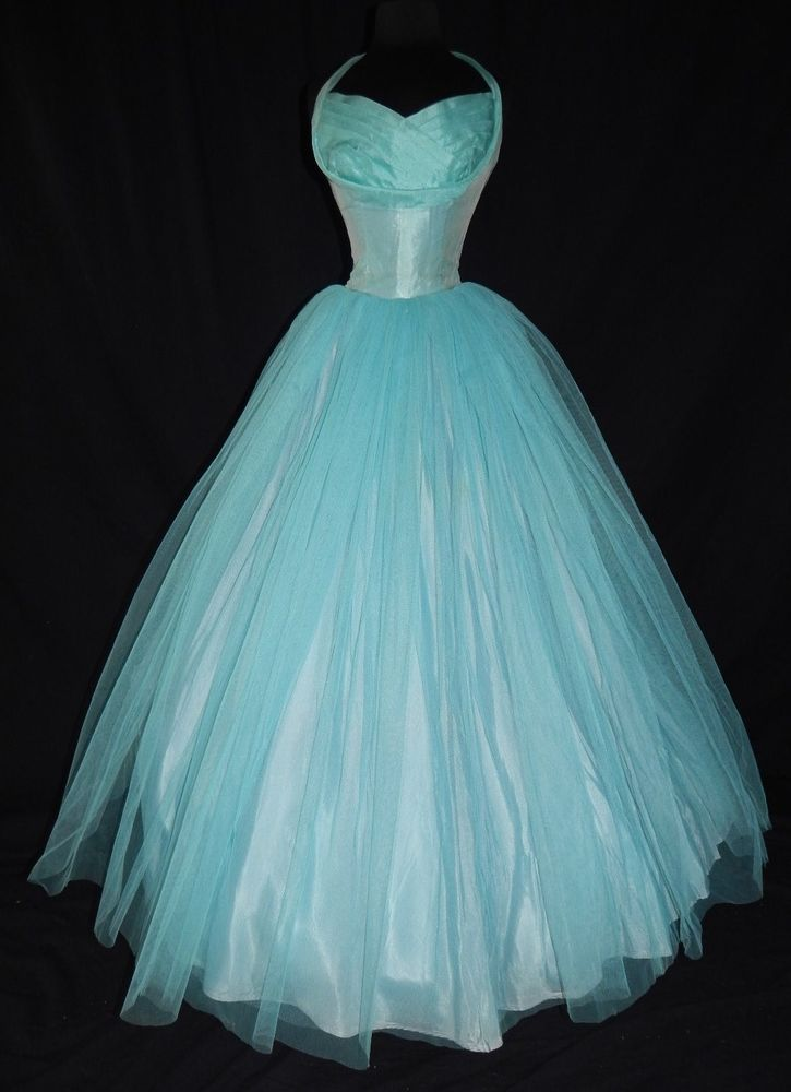 Vintage gorgeous teal 1950 39 s halter formal tulle prom for Tulle halter wedding dress