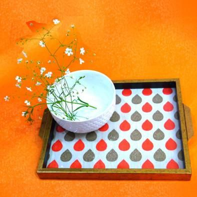 Wooden Trendy And Bright Spotted Serving Tray - FOLKBRIDGE.COM | Buy Gifts. Indian Handicrafts. Home Decorations.