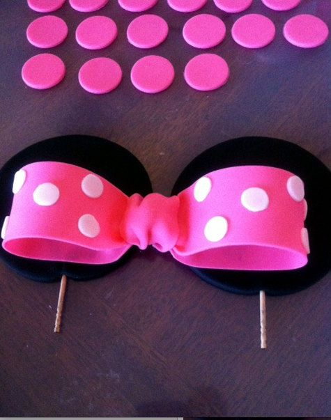 Minnie Mouse Ears and Bow Cake Topper Set