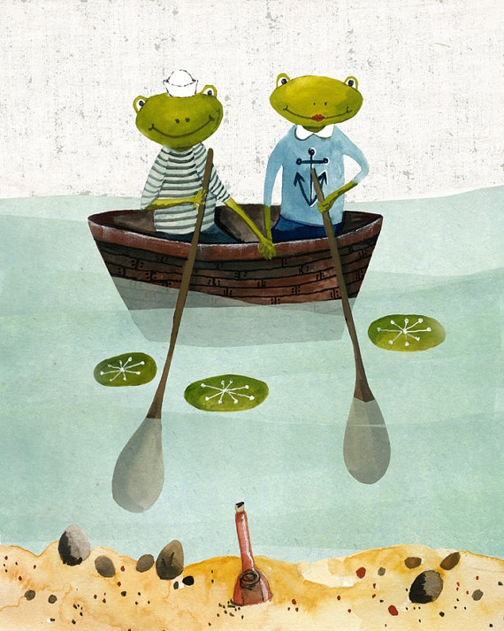 Frogs Two Frogs in a boat