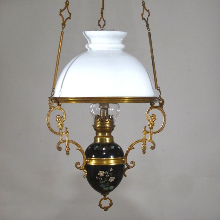 Hanging Lamp That Drips Oil: Antique French Hanging Oil Lamp, Weighted, Chandelier