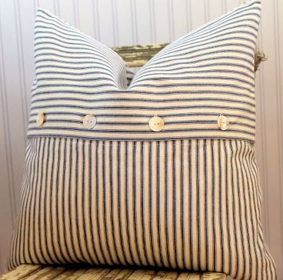 ticking pillow- There is something I just love about Ticking fabric Love the two directional fabric...