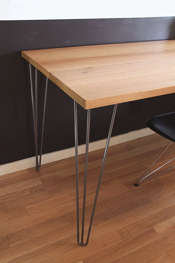 Solid Oak Desk on hairpin legs by TreeZigner on Etsy
