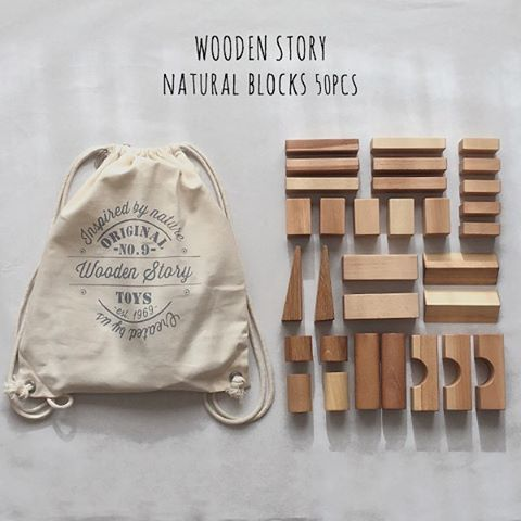 This XL Wooden Story 50-piece block set comes in a cotton sack. Made from a selection of wood that comes from FSC certified suppliers. Finished with beeswax and botanical oils, sanded perfectly smooth, soft to the touch. Free of harmful chemicals.  Product eco. Made in the Beskidy Mountains, Poland.