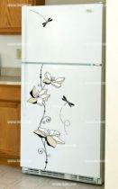 Stickers frigo fleurs et libellules