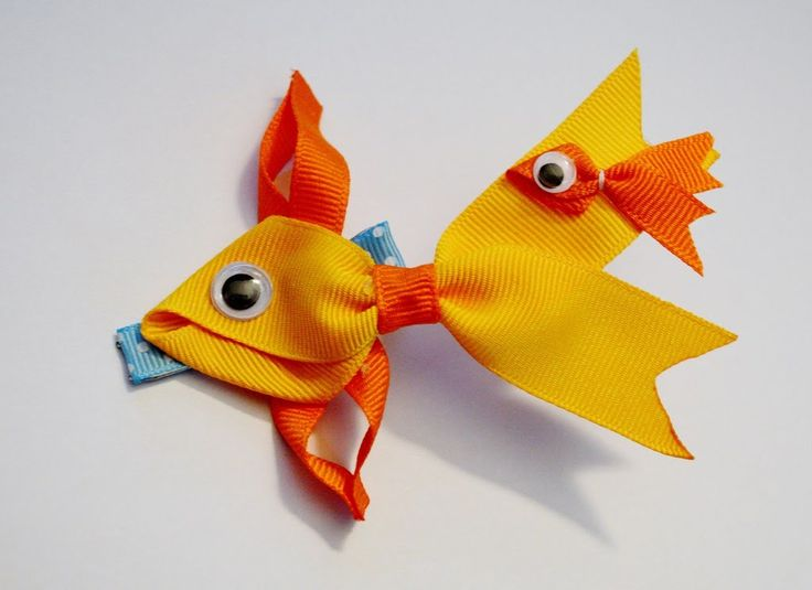 GOLDFISH Fish Ribbon Sculpture Zoo Animal Hair Clip Bow DIY Free Tutoria...