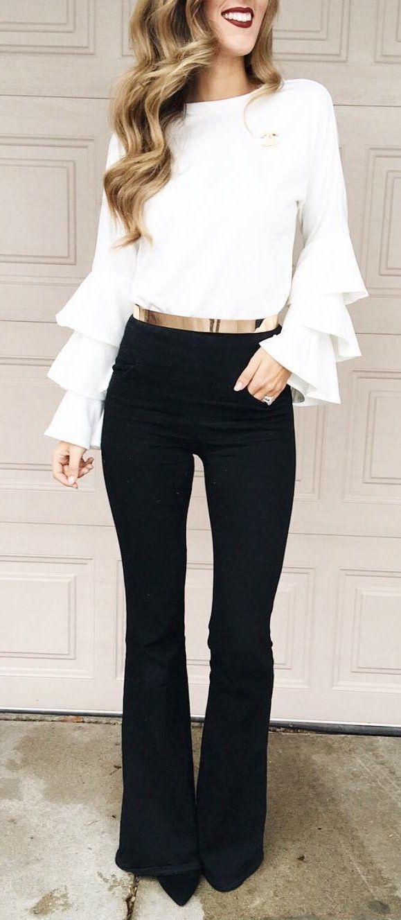#winter #fashion / White Top / Black Wide Pants