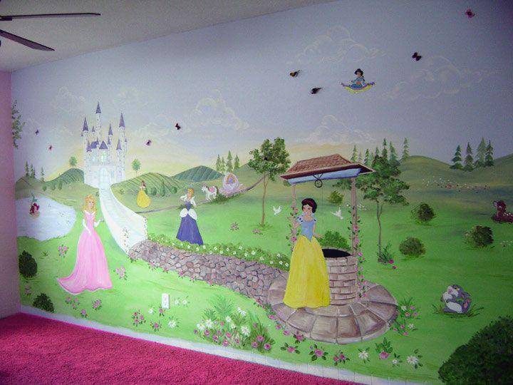 Inspirational Girl Bedroom Designs Presenting Fascinating Mural Wall: Fancy  Girl Room With Princess Wall Mural Part 80