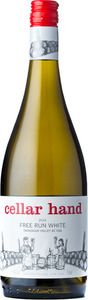 cellar hand Free Run White from BC, Canada. A white wine blend of Pinot Blanc, Chardonnay, Sauvignon Blanc, Viognier and Muscat that is fruit forward and juicy.