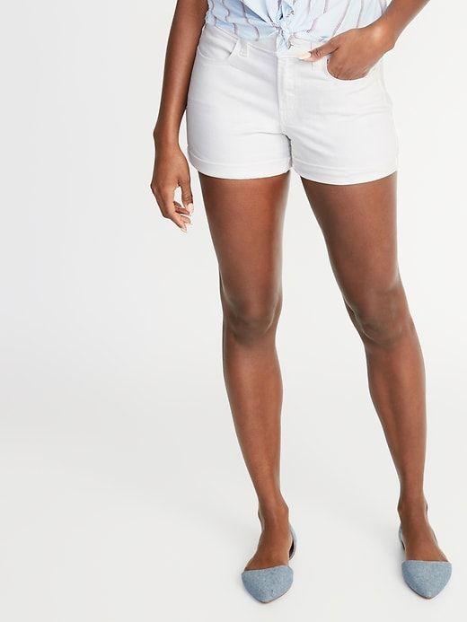 1e1cc679cb Old Navy Women's Mid-Rise White Denim Shorts - 3-Inch Inseam White Lily  Size 20