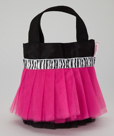 Take a look at this Black & Fuchsia Zebra Tutu Tote by My Princess Academy on #zulily today!