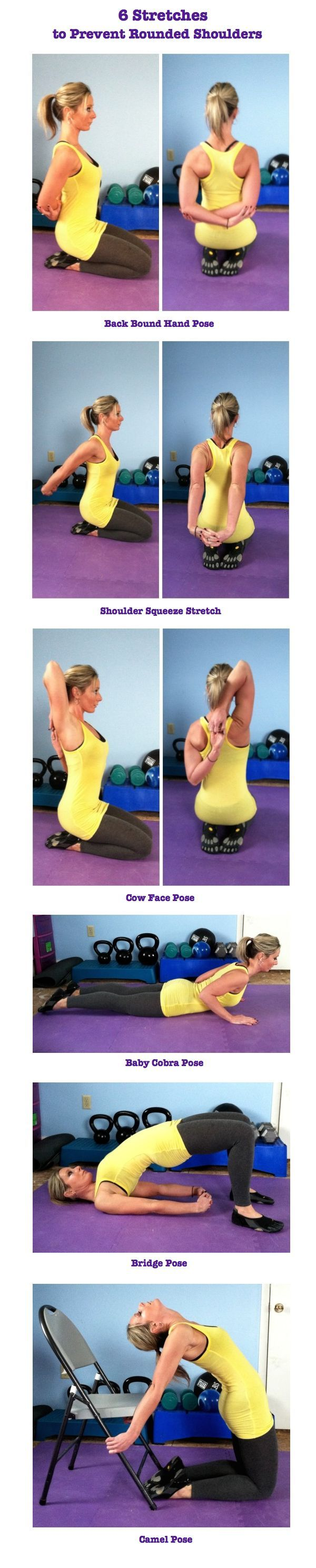 6 Stretches To Prevent Rounded Shoulders- Hopefully would reduce tension! stretching tips, flexibility