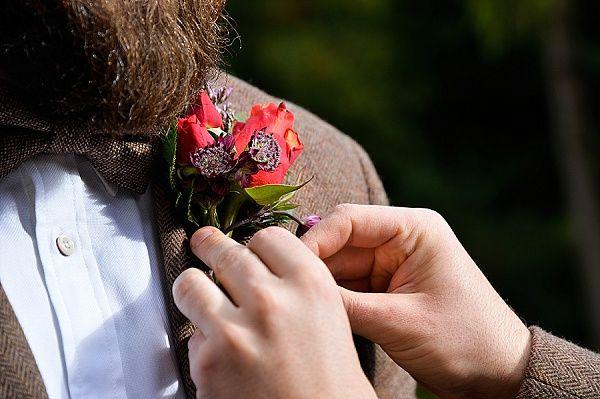 Real Wedding Berwick Lodge // Autumn Fall Colours // Bristol Florist // Emerald & Jade Flowers // Interlace Photography // groom // buttonhole // tweed suit