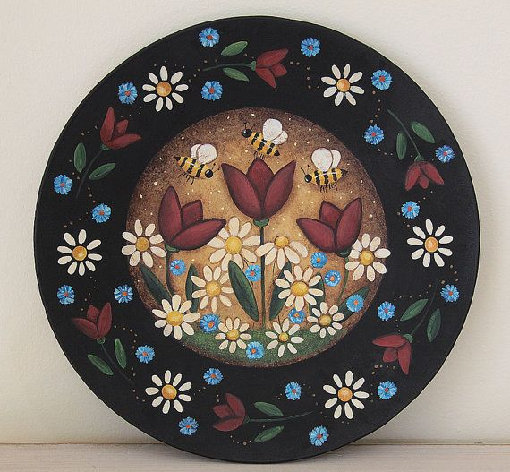 Folk Art Painting on Wood Plate  READY TO by RavensBendFolkArt