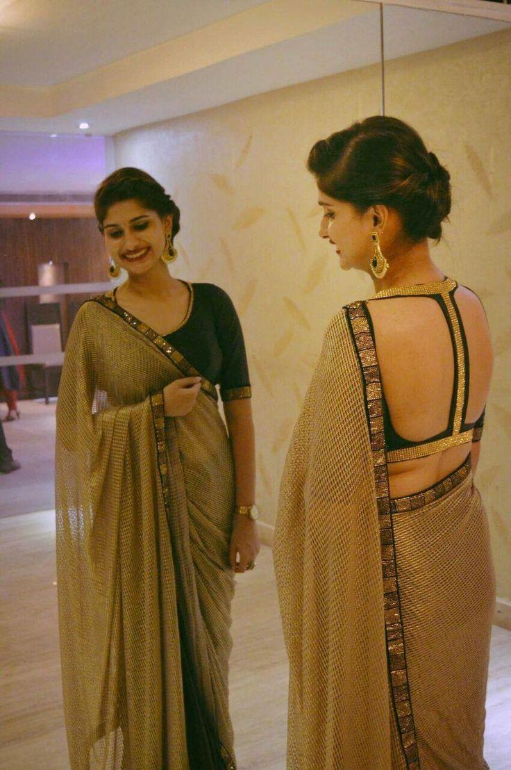 Blouse design with chiffon saree