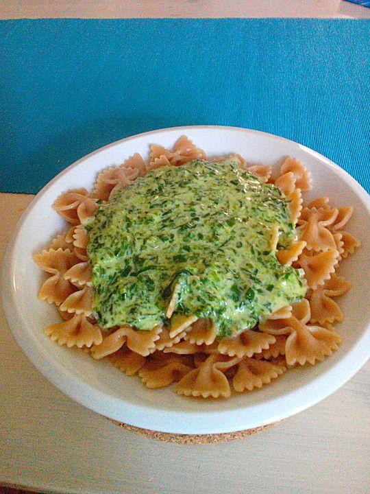 Spaghetti mit leckerer Spinatsauce (Rezept mit Bild)   Chefkoch.de