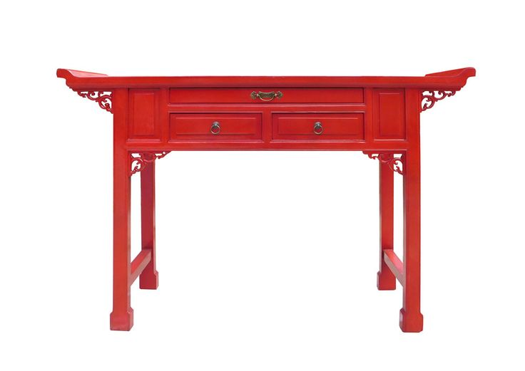 This Is An Oriental Accent Point Edge Carving Motif Altar Console Table In  Chinese Red Lacquer Color. There Are Three Drawers With Oriental Hardware  Accent.
