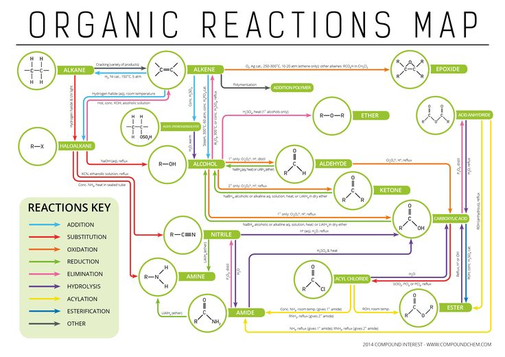 Some of these reactions we haven't really touched on much yet, but still, this infographic shows how each functional group is related and how to go from one to another through a series of reactions. Pretty cool.