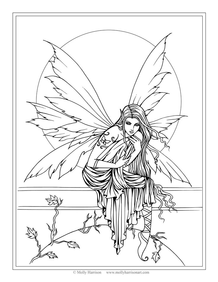 free fairy coloring page by molly harrison fantasy art astrid