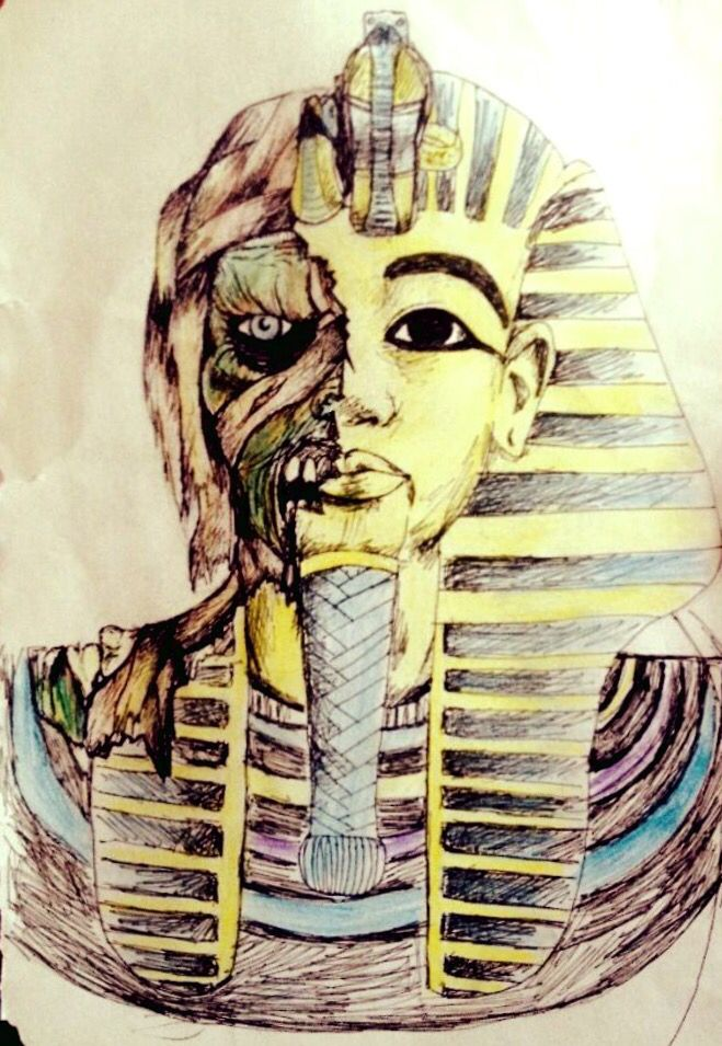 Mummy drawing tattoo design concept