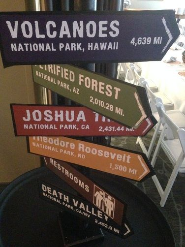 Directional signs with mileage to national parks.