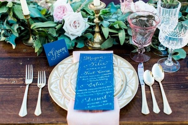 15 Blue Wedding Invitation and Blue Wedding Stationery  Ideas: Cobalt blue wedding dinner menus + place cards with modern calligraphy {Alicia Wiley Photography}