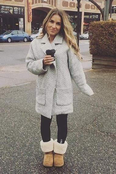 Jessie James Decker wearing Topshop Oversized Long Jacket, Ugg Classic Tall Boots in Chestnut and Oola Fitness Basic Leggings