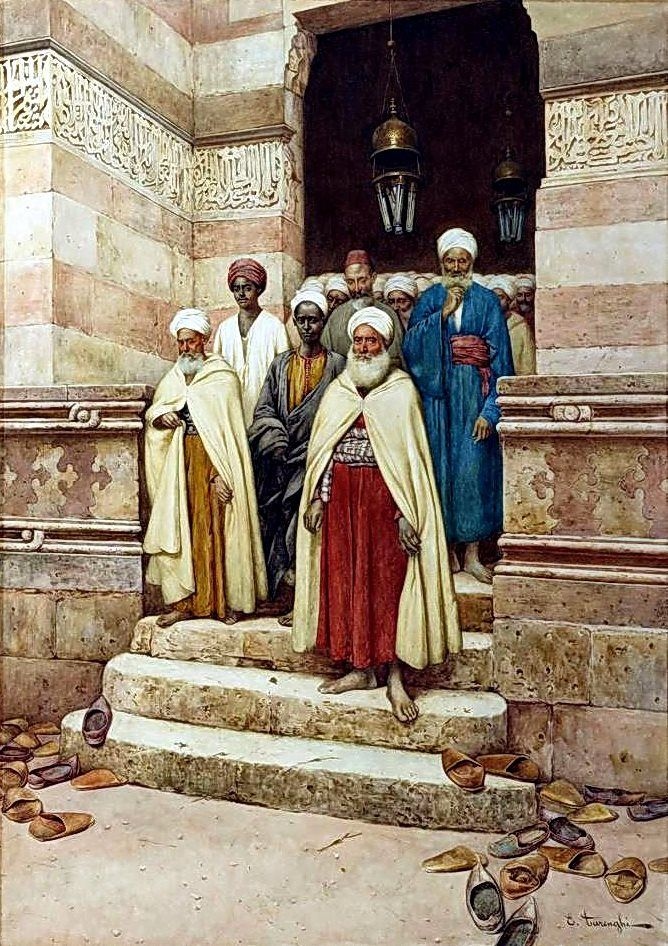Leaving Prayers BY Enrico Tarenghi (Italian, 1848-1938) Watercolor 76 x 53 cm