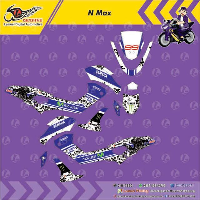 Custom Decal Vinyl Striping Motor Full Body Yamaha NMAX Thema Batik Blue Movistar by DIGITIVE
