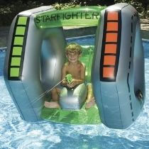 Galaxy Star fighter Inflatable Pool Float with constant supply water pistol and sunshade top.  awesome fun and a great way to encourage imaginative play.