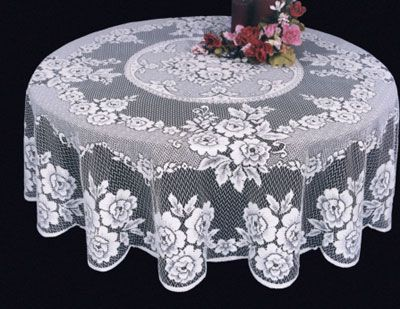 Victorian Rose Lace Table Cloth made in the U.S. in round or rectangular shapes starting from $49.95.