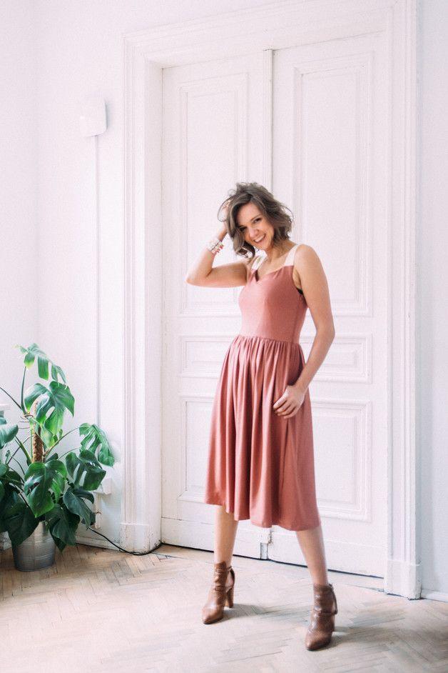 midi dress ROMAN HOLIDAYS retro pink/pretty yellow - risk-made-in-warsaw - Sukienki midi