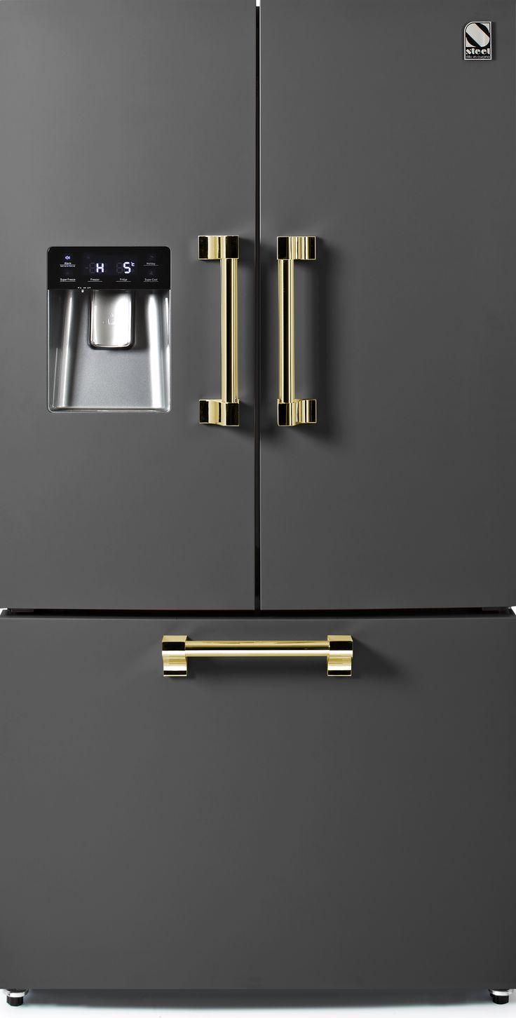 Steel - Ascot - Fritstående Køleskab med fransk dør - 90 cm   Range Cookers fra MyRangeCooker.dk