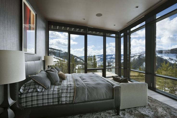 Family room with a view in Big Sky, Montana #dreamhouseoftheday via @Contemporist .com