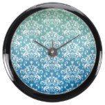 Green & Blue Ombre Damask Pattern Aqua Clocks  #&ampamp #Aqua #blue #clocks #damask #Green #Ombre #Pattern #RusticClock The Rustic Clock
