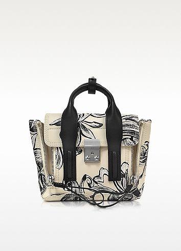Off White & Black Floral Print Pashli Mini Satchel - 3.1 Phillip Lim
