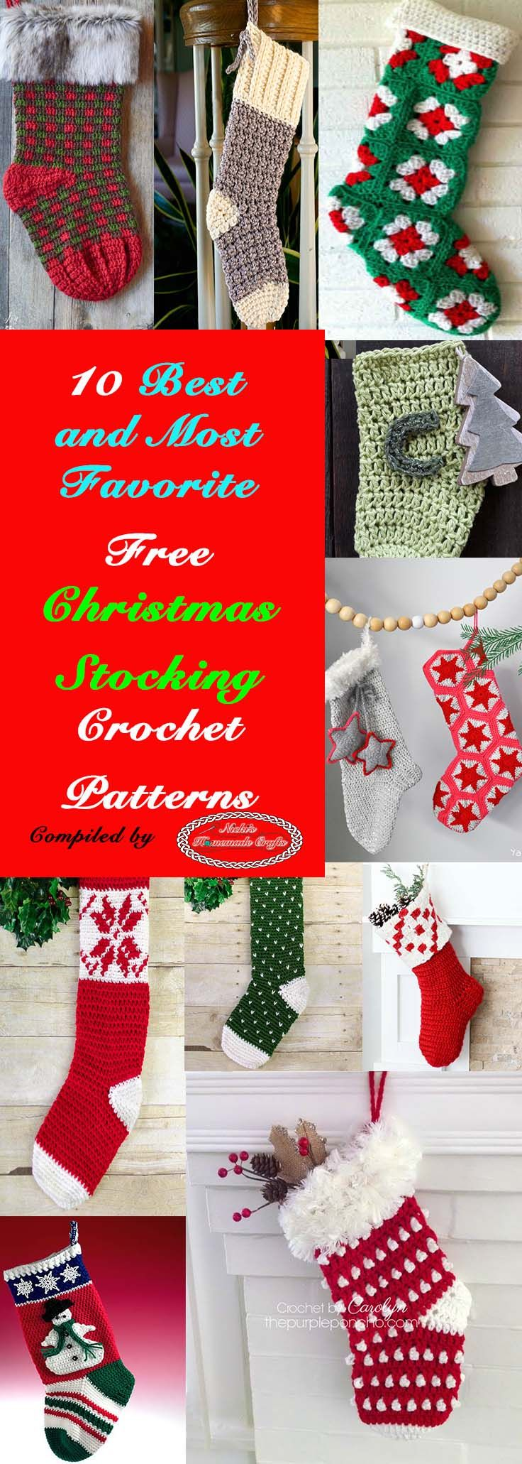 10 Best and Most favorite Christmas Stocking - Free Crochet Patterns  roundup at Nicki's Homemade Crafts