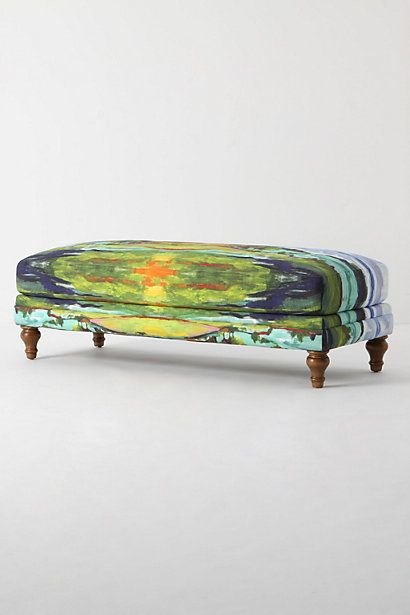 """gorgeous and easy to replicate if you're handy with a paintbrush.  Materials needed--acrylic paints, textile medium, old ottoman recovered in upholstery muslin.  Or build your own ottoman for a few bucks out of 3/4"""" ply, 10' of 2x4, ready-made legs from your local big-box home improvement store, some foam from a fabric store.  This could be a perfect first diy furniture project."""