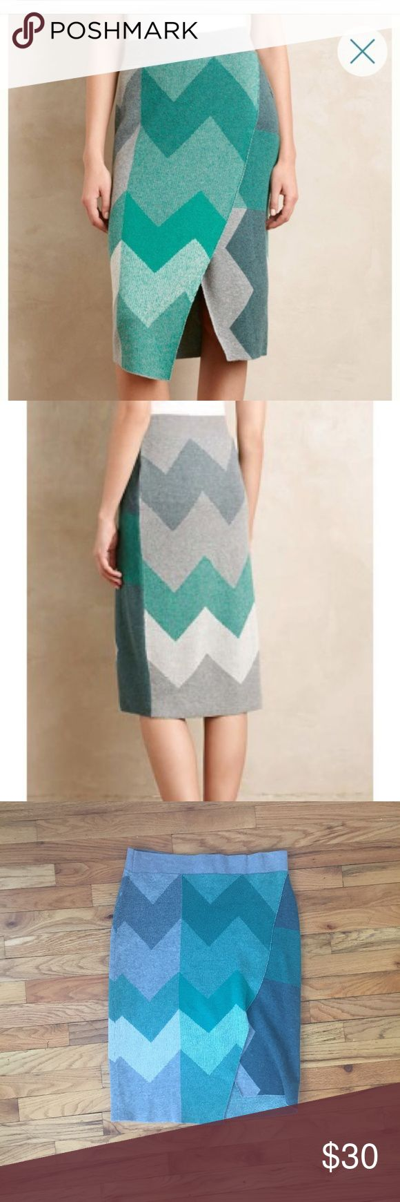Anthropologie Moth Green Grey Chevron Skirt Length: 27 in | Waist: 34 in |  Great condition! Please ask if you have any questions :)                                                      #soft cozy comfy high waist trendy Anthropologie Skirts Pencil