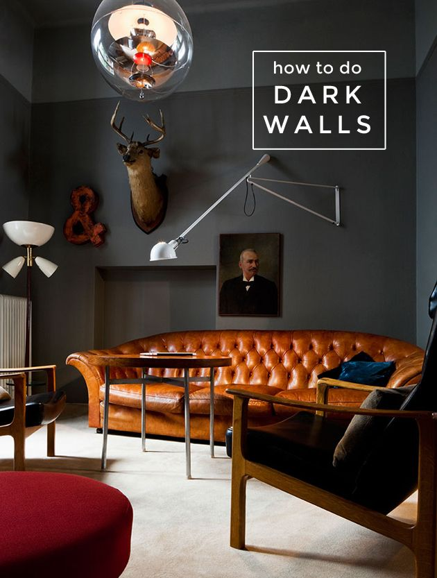 How to Design with Dark Walls: Wall Colors, Living Rooms, Leather Couch, Leather Sofas, Grey Wall, Leathercouch, Mancaves, Man Caves, Dark Wall
